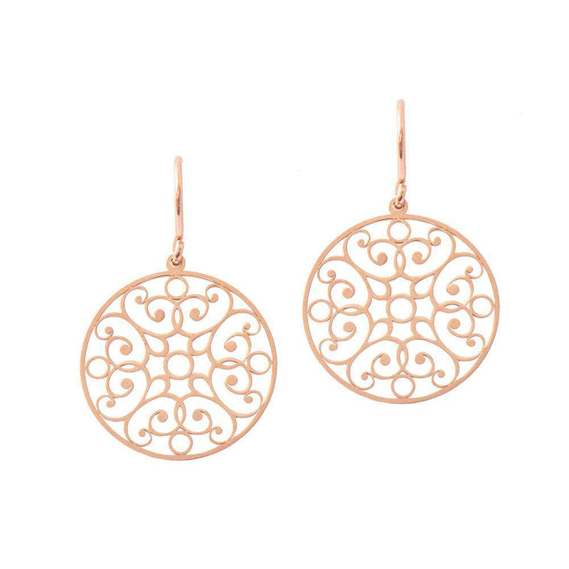 Lace Circle Earrings - Rose Gold Plated - EARRINGS - [variant.title]- Borboleta