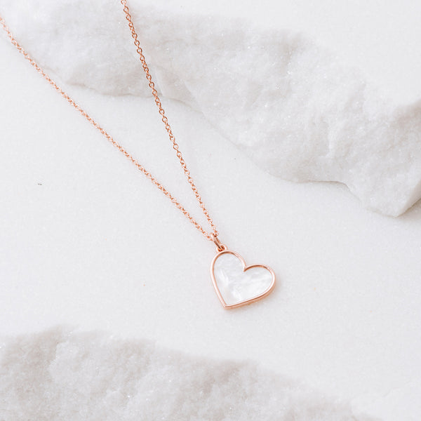 Mother of Pearl Heart Necklace - Rose Gold - NECKLACE - [variant.title]- Borboleta