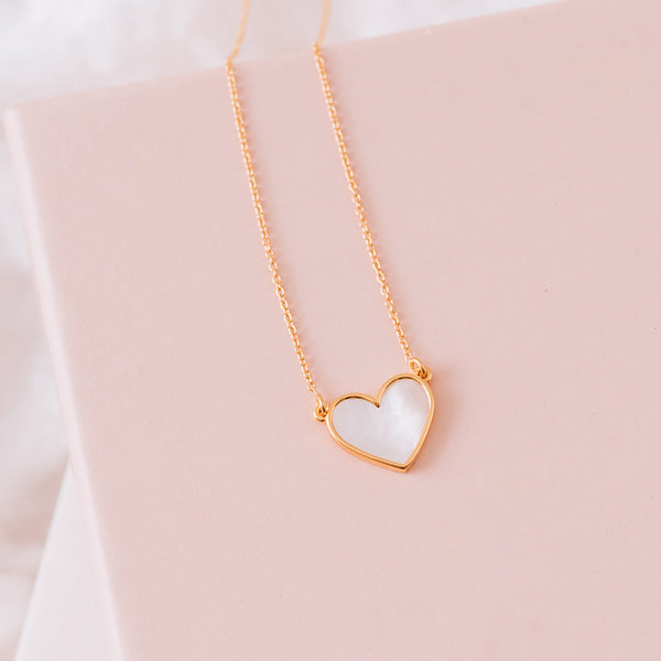Mother of Pearl Heart Necklace - NECKLACE - [variant.title]- Borboleta