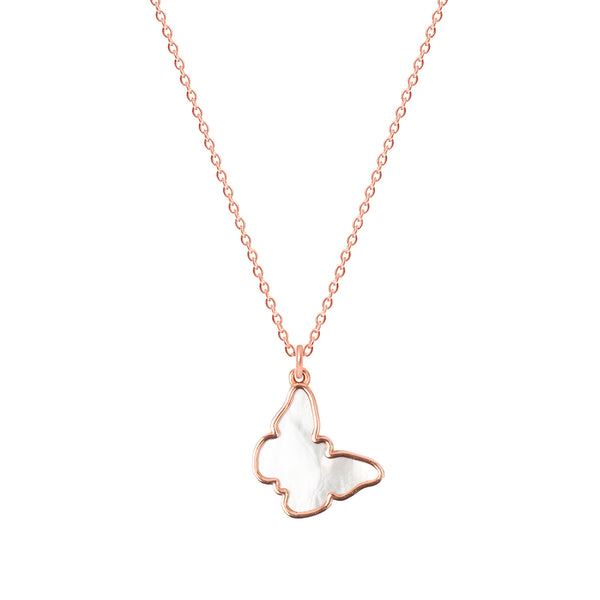 Mother of Pearl Butterfly necklace - Rose gold
