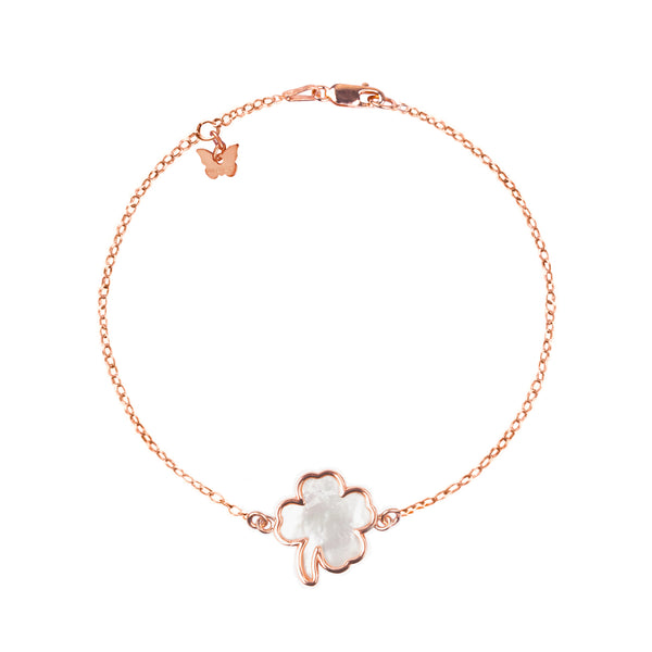 Sterling Silver Mother of Pearl Clover bracelet - BRACELET - [variant.title]- Borboleta