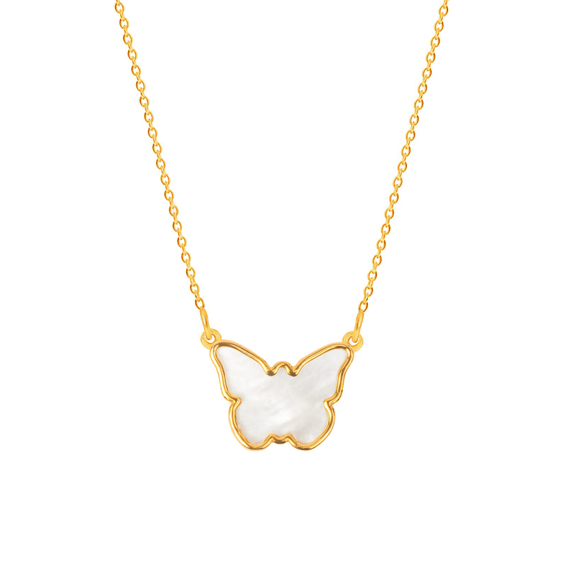 Mother of Pearl Butterfly necklace - NECKLACE - [variant.title]- Borboleta