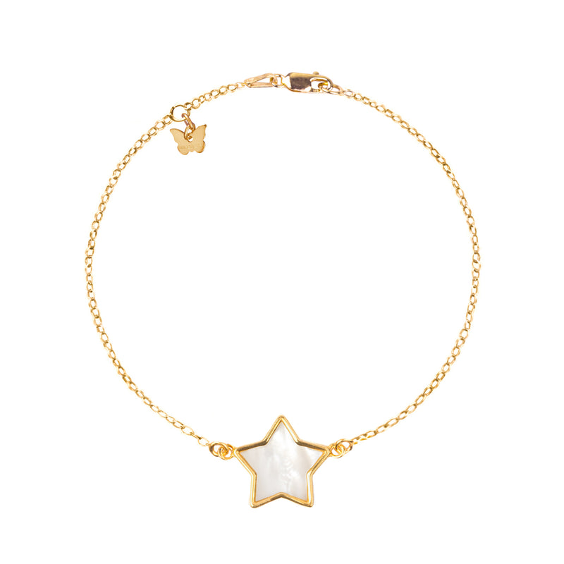 Sterling Silver Mother of Pearl Star bracelet - BRACELET - [variant.title]- Borboleta
