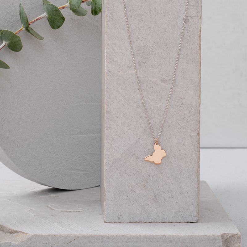 Rose Gold Plated Butterfly on Rhodium Necklace - NECKLACE - [variant.title]- Borboleta