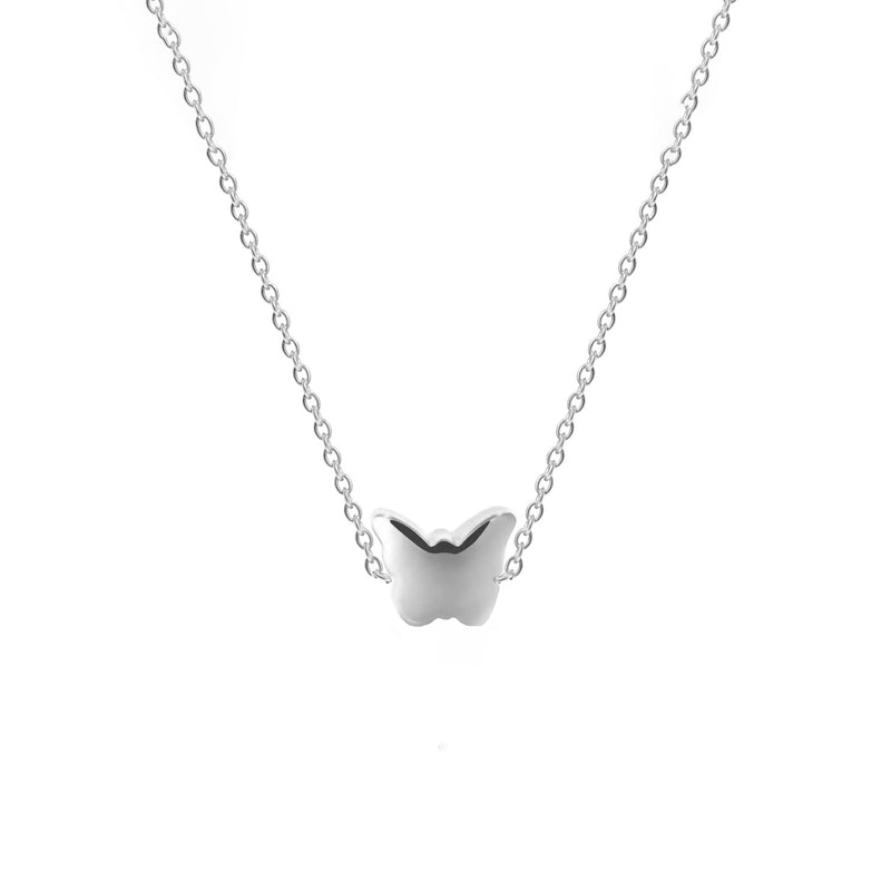 Sterling Silver Bubble Butterfly Necklace - NECKLACE - [variant.title]- Borboleta