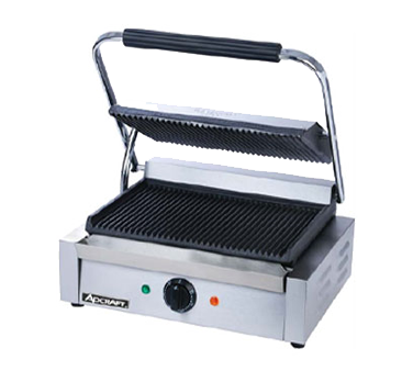 Adcraft - SG-811E - Admiral Craft|Sg-811E|Quickship Sandwich Panini Grill Grooved Flat Cast Iron Plate Bottom Top Handle Thermostat