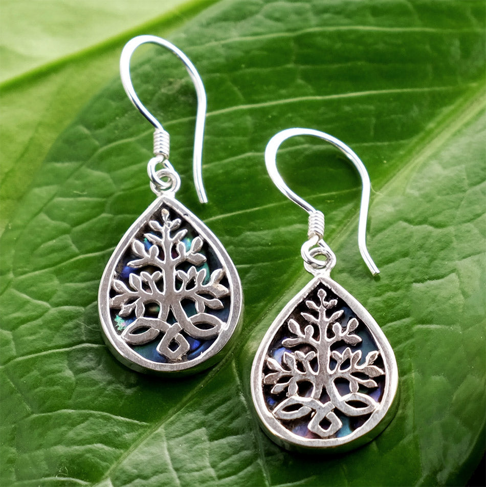 Fair trade sterling silver abalone earrings handmade in Bali