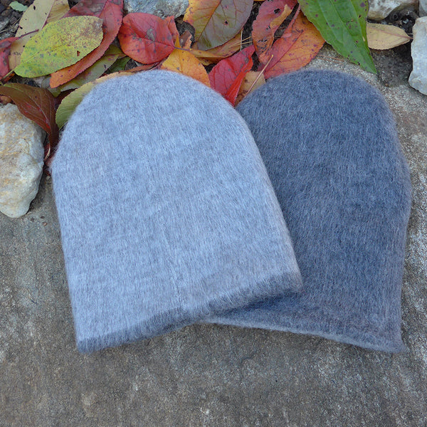 Unisex Reversible Alpaca Hat - Heather Gray/Charcoal, Ecuador