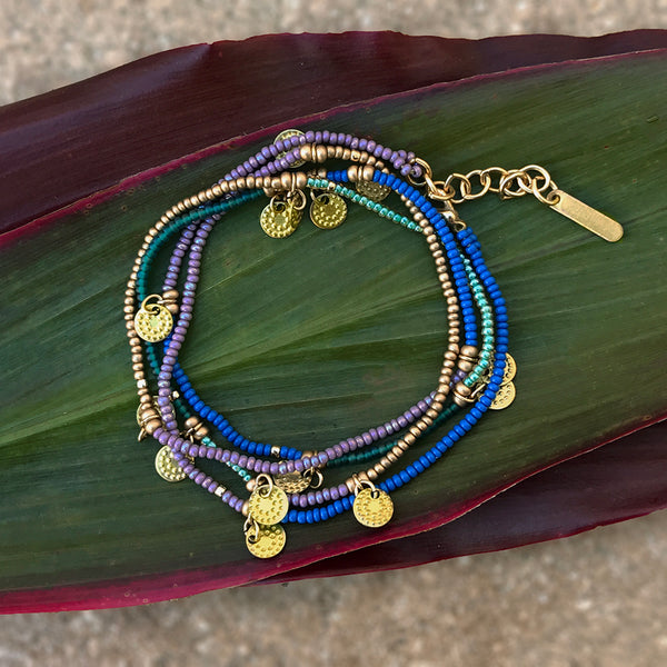 Fair trade beaded wrap bracelet and necklace handmade in Guatemala