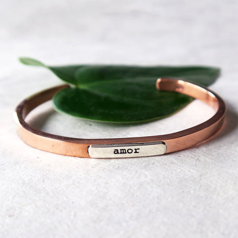 Amor Cuff - Copper/Sterling Silver, Mexico