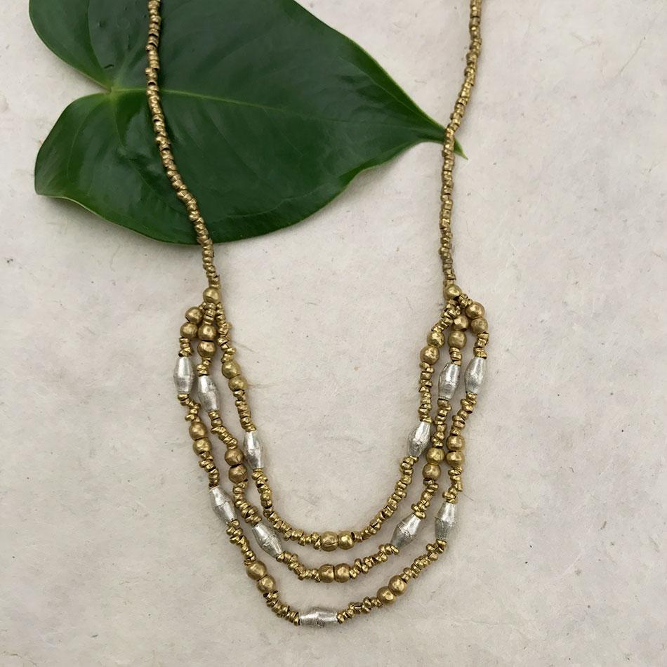 Fair trade recycled necklace handmade by women in Ethiopia.
