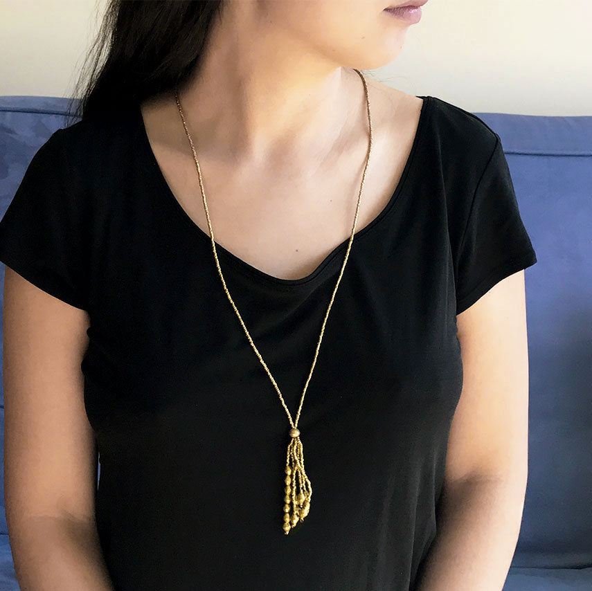 Fair trade recycled necklace handmade by women in Ethiopia