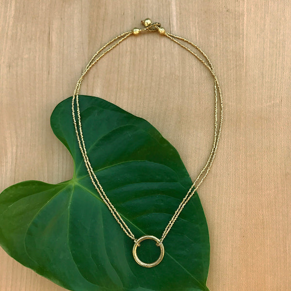 Fair trade brass minimalist necklace Ethiopia