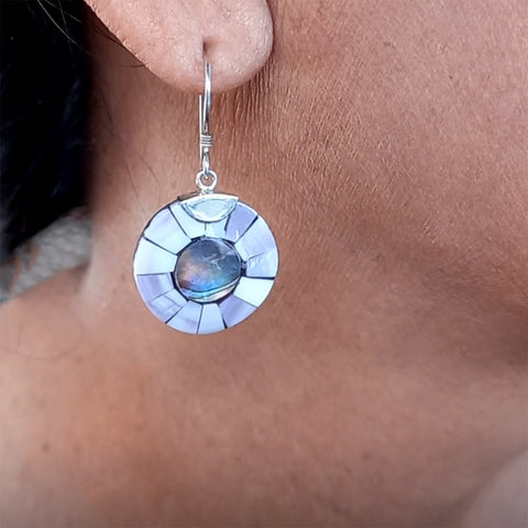 Mother-of-pearl Circular Earrings - Sterling Silver, Indonesia