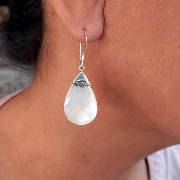 Fair trade sterling silver mother-of-pearl earrings handmade in Bali