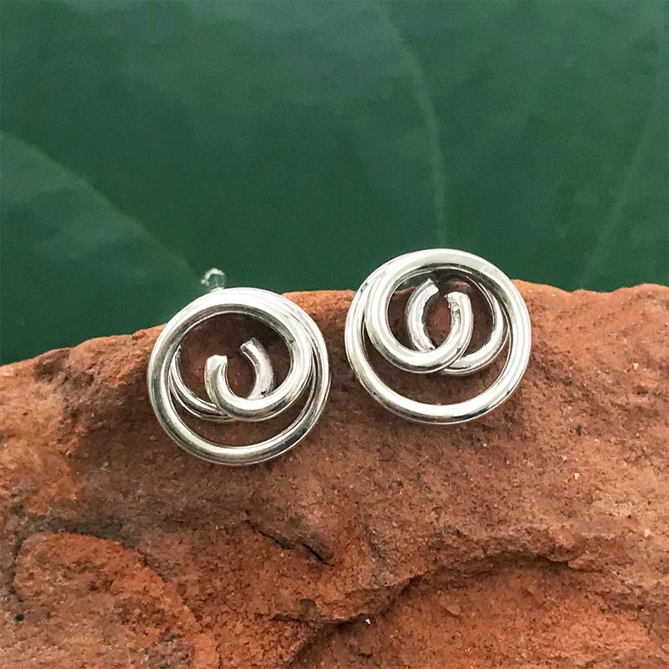 Fair trade sterling silver studs handmade in Bali