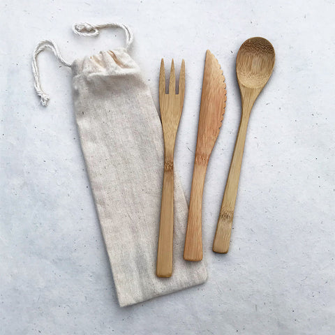 Fair trade bamboo eating utensils handmade by women in Vietnam