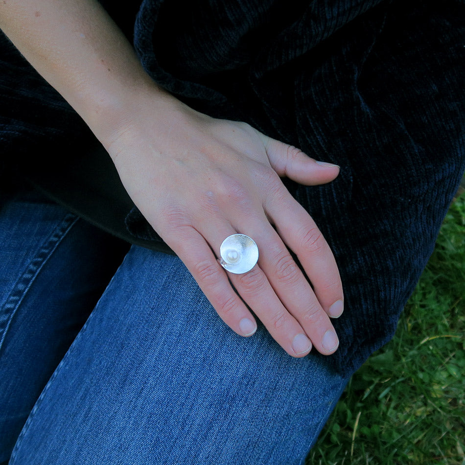 Fair trade sterling silver pearl ring