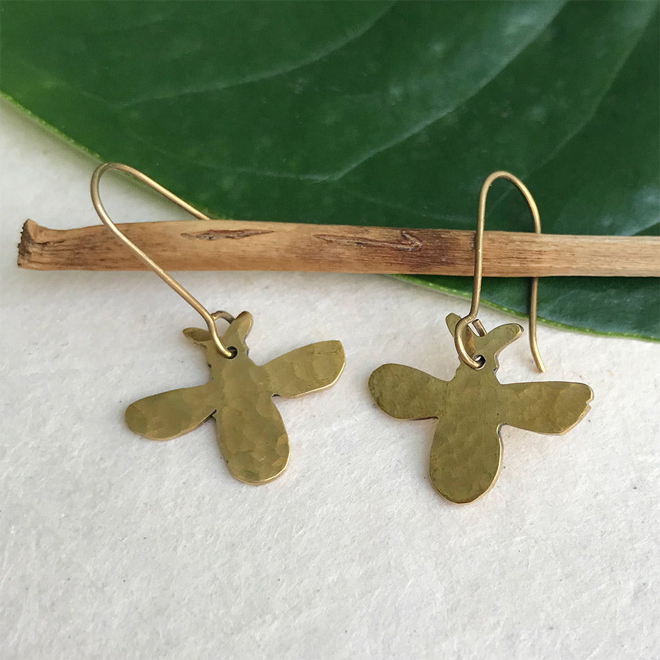 Fair trade brass bee earrings handmade by women in Peru