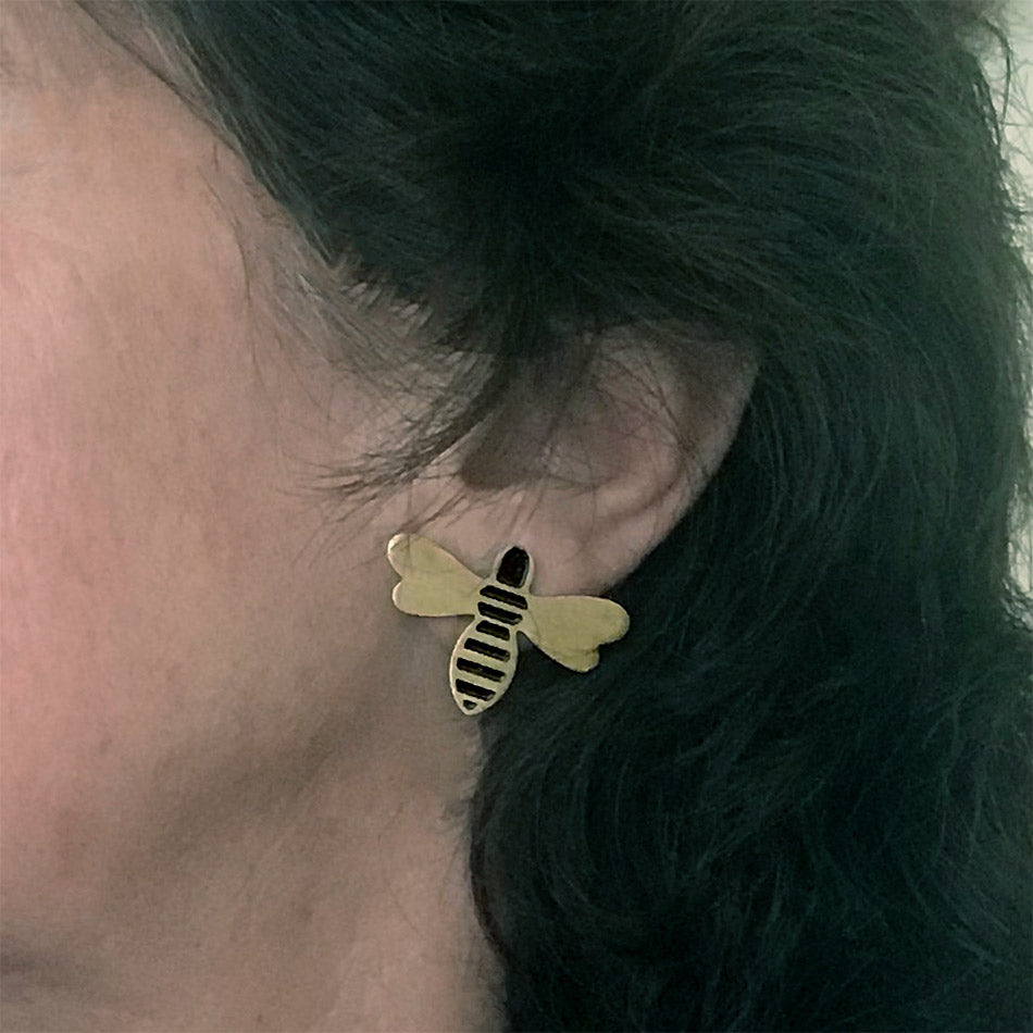 Fair trade bees studs handmade by women in India