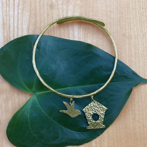 Fair trade brass bird bangle hand made in India