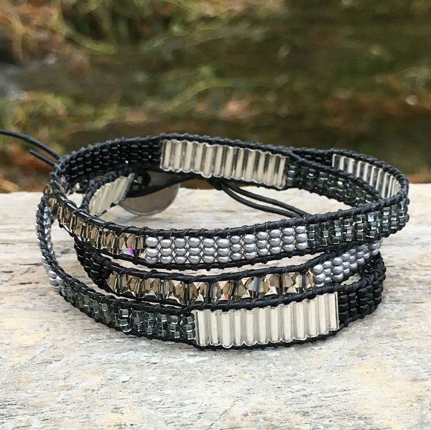 Eternally Loved Wrap Bracelet/Anklet - Black, Guatemala