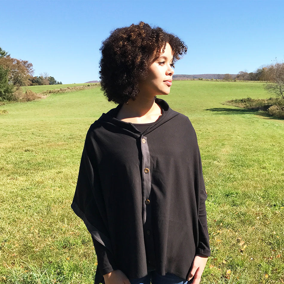 Organic Cotton Button Cape - Black, Peru