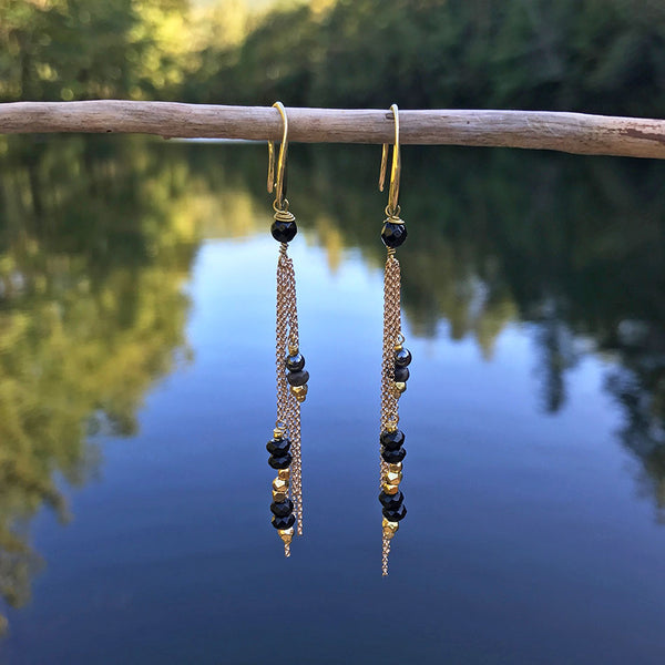 Fair trade gold and beaded earrings handmade in Thailand