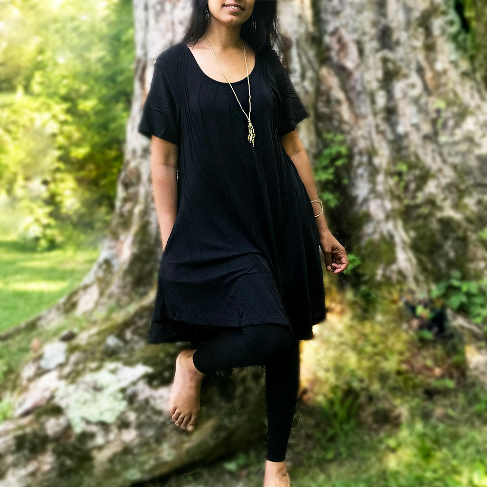 Cotton Pocket Sleeve Dress - Black, Nepal