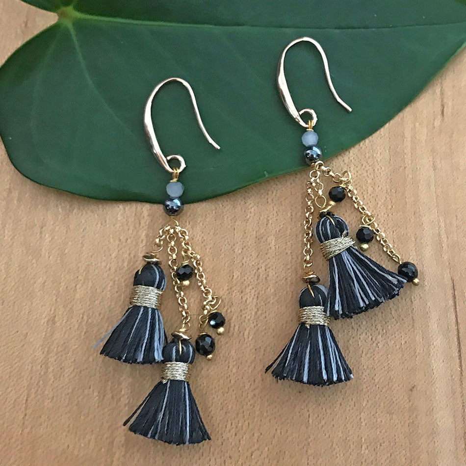 Double Tassel Earrings -Black, Thailand