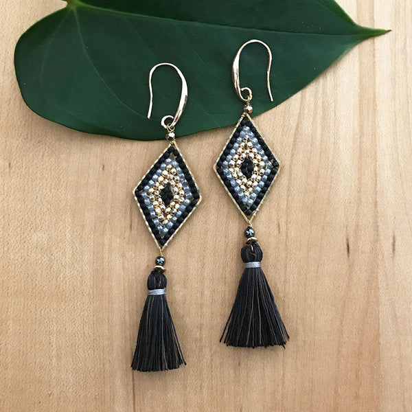 Fair trade beaded and tassel earrings handmade by women in Thailand