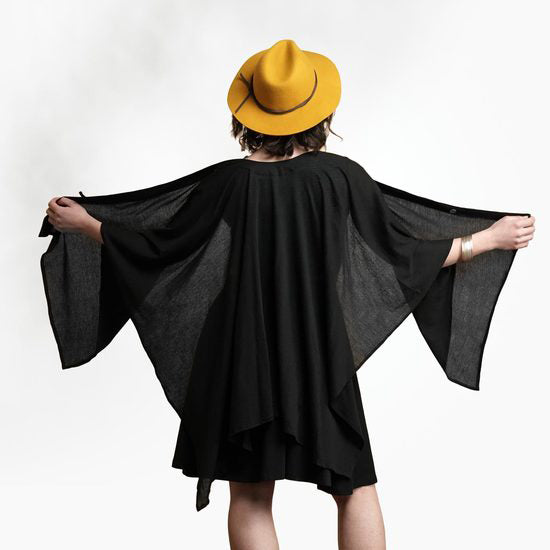 Fair trade organic cotton poncho cape handmade in India
