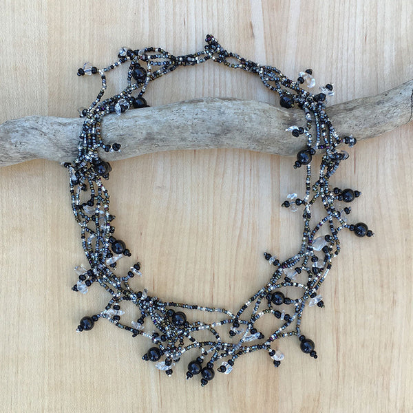 Fair trade beaded black necklace handmade in Guatemala