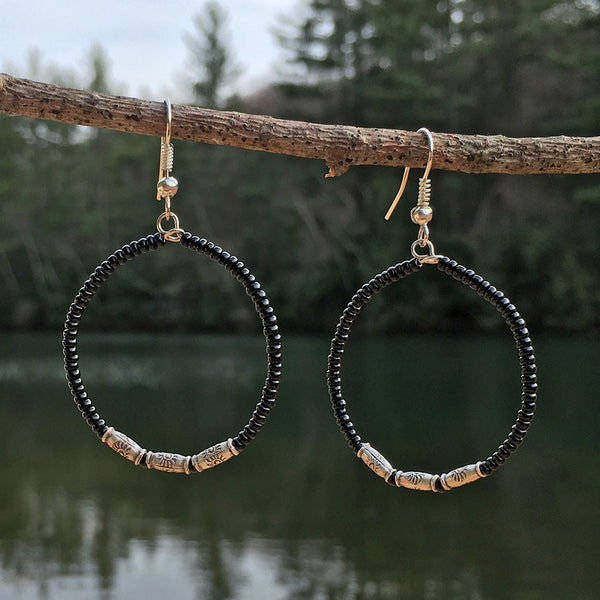 Circle of Life Earrings - Black, Guatemala