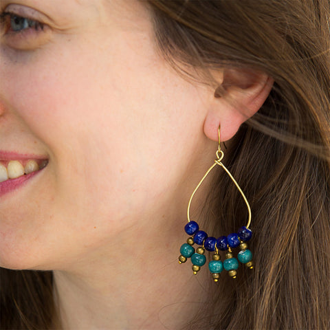 Fair trade ceramic bead earrings handmade in Peru