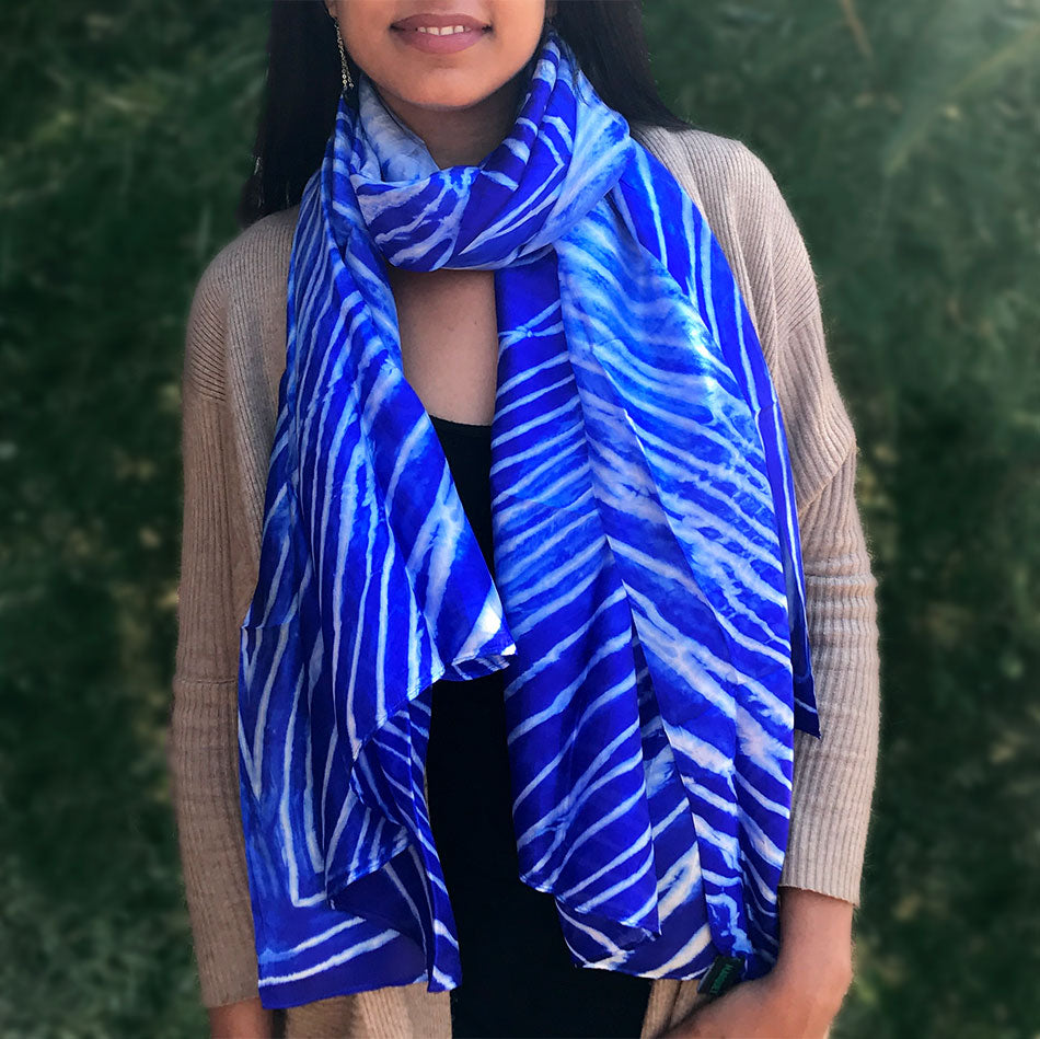 Fair trade silk scarf hand woven in Vietnam
