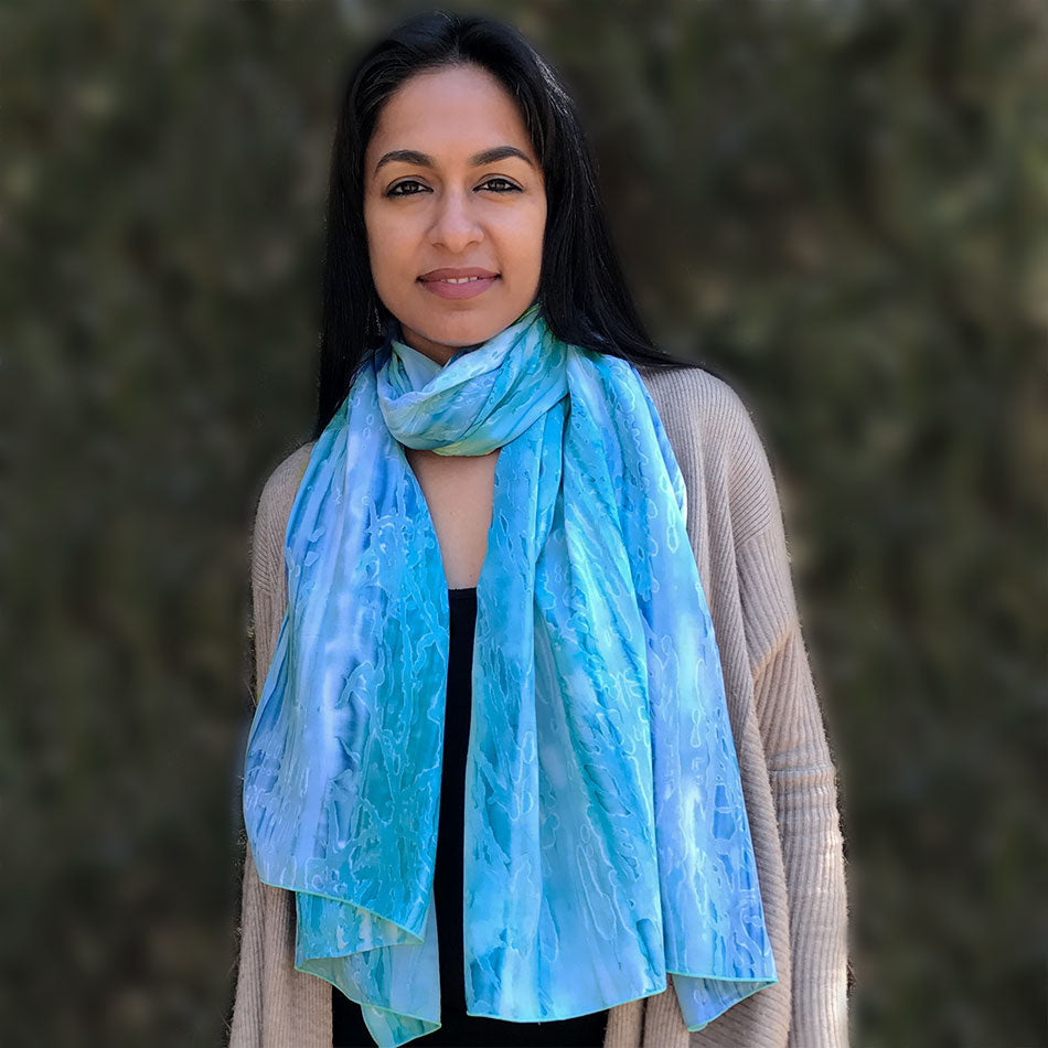 Watercolor Batik Scarf/Wrap - Sea Blue, Bali