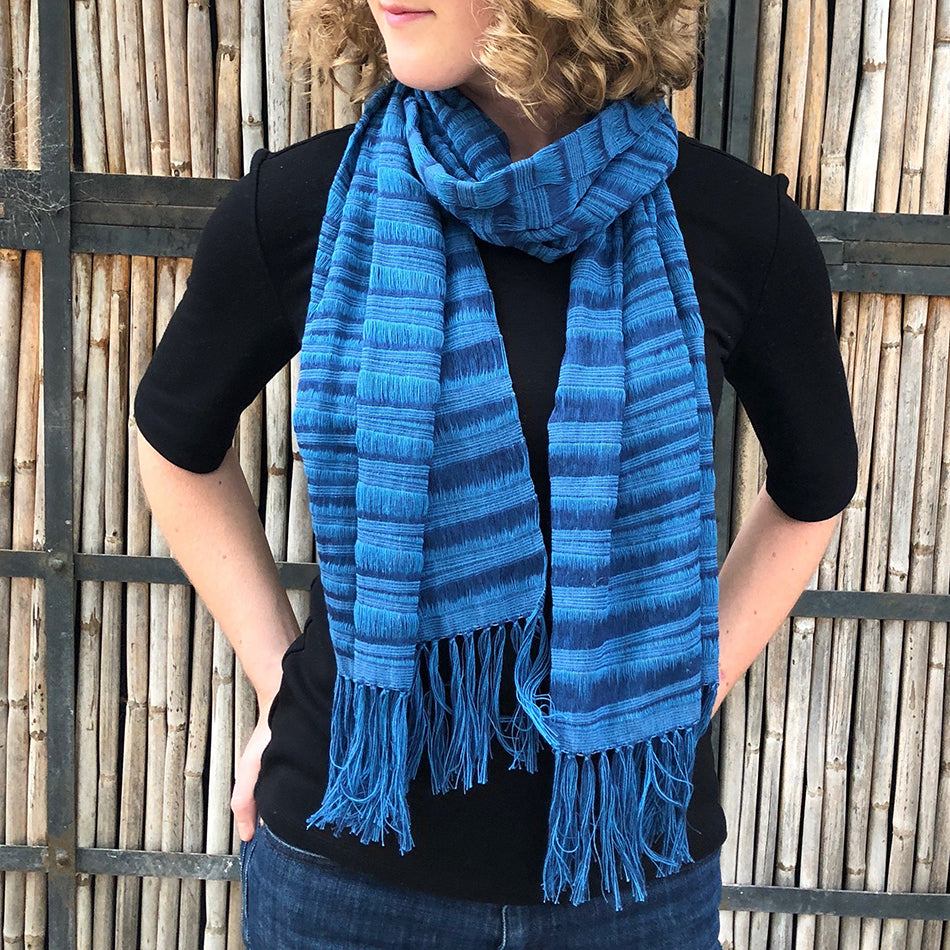Fair trade hand woven scarf handmade by weavers in Mexico