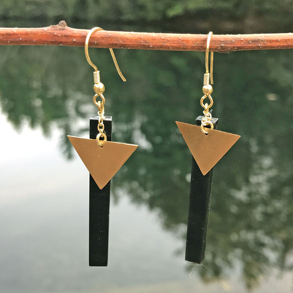 Fair trade brass and bone earrings India