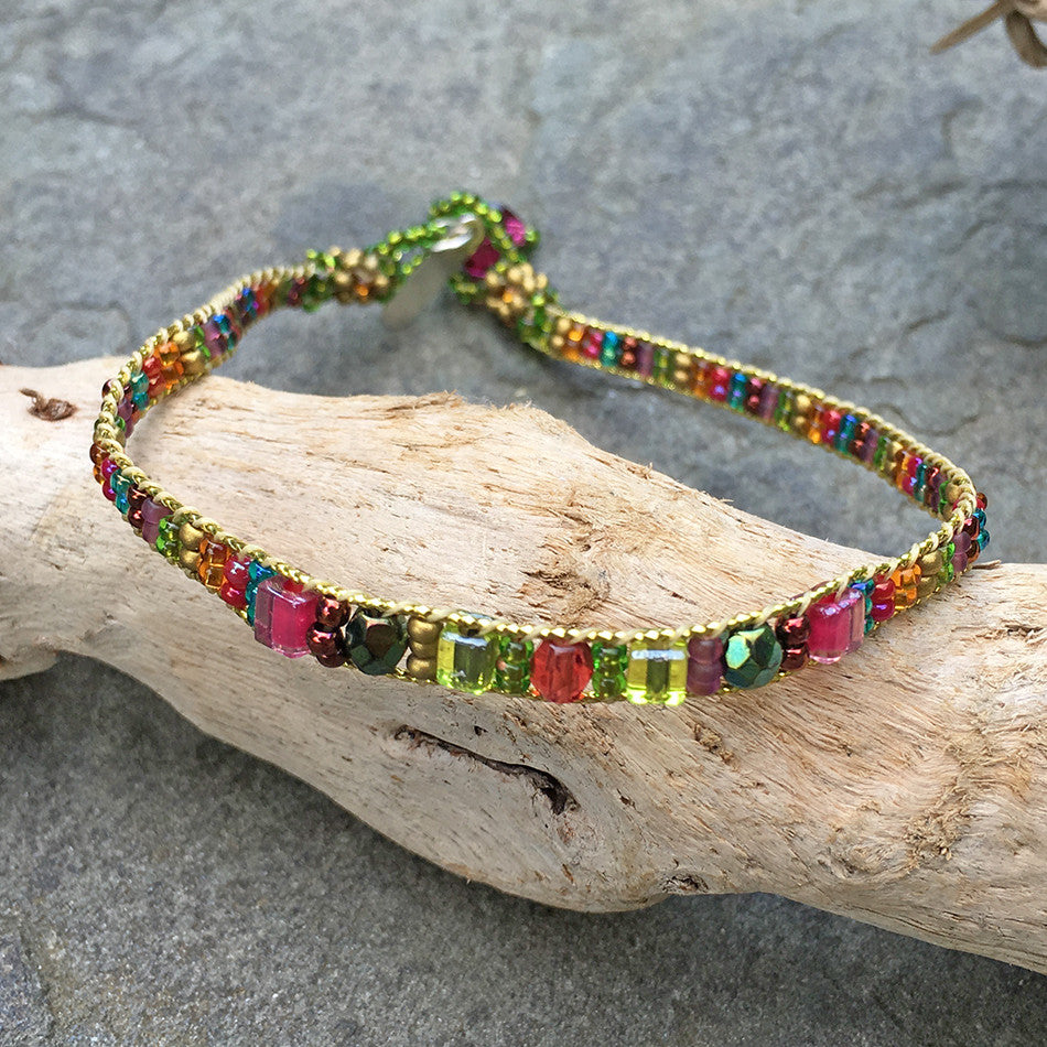 Fair trade beaded and crystal anklet handmade by women in Guatemala