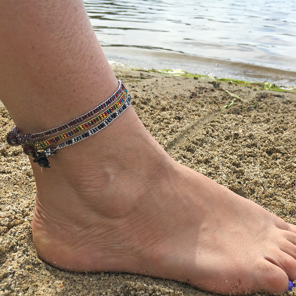 Bonita Jewel Anklet - Purple, Guatemala