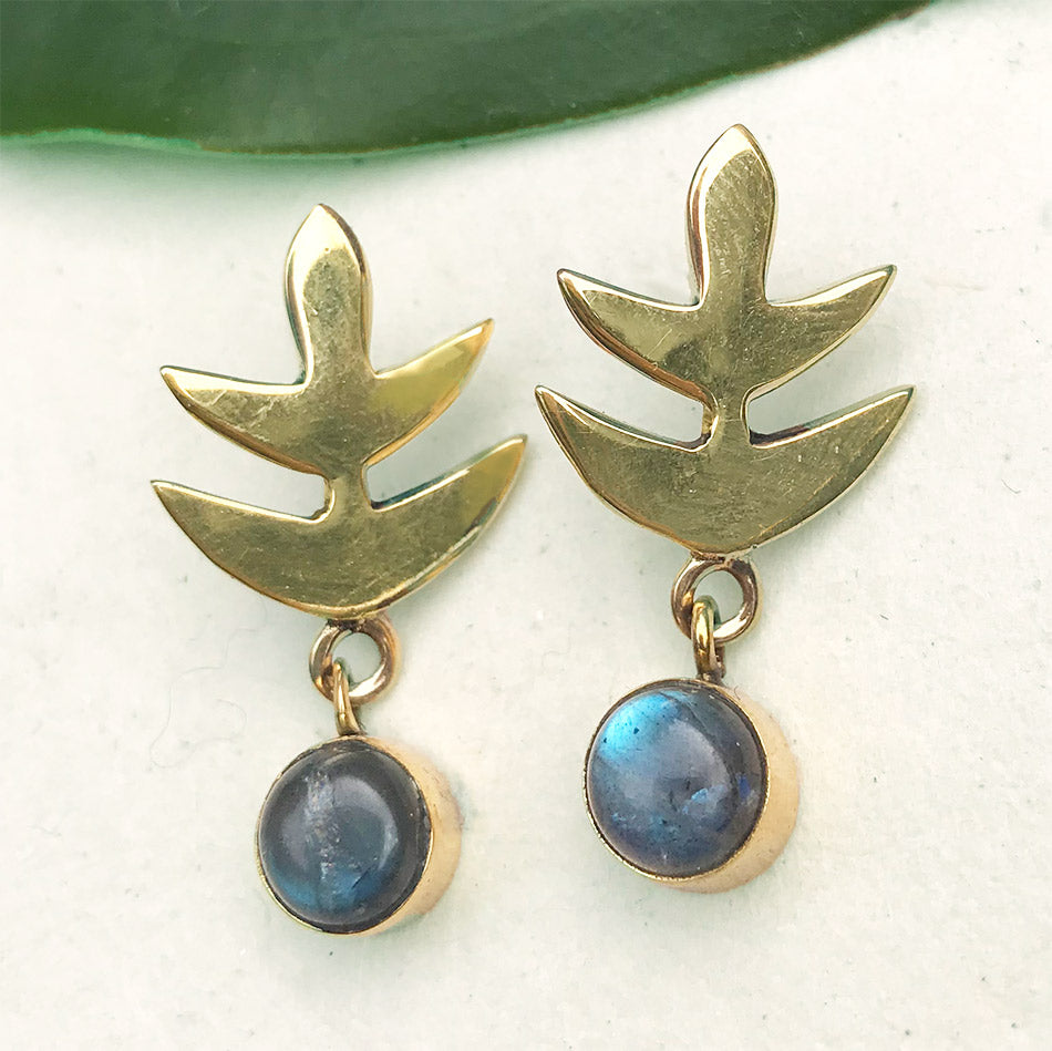 Fair trade labradorite earrings handmade in India