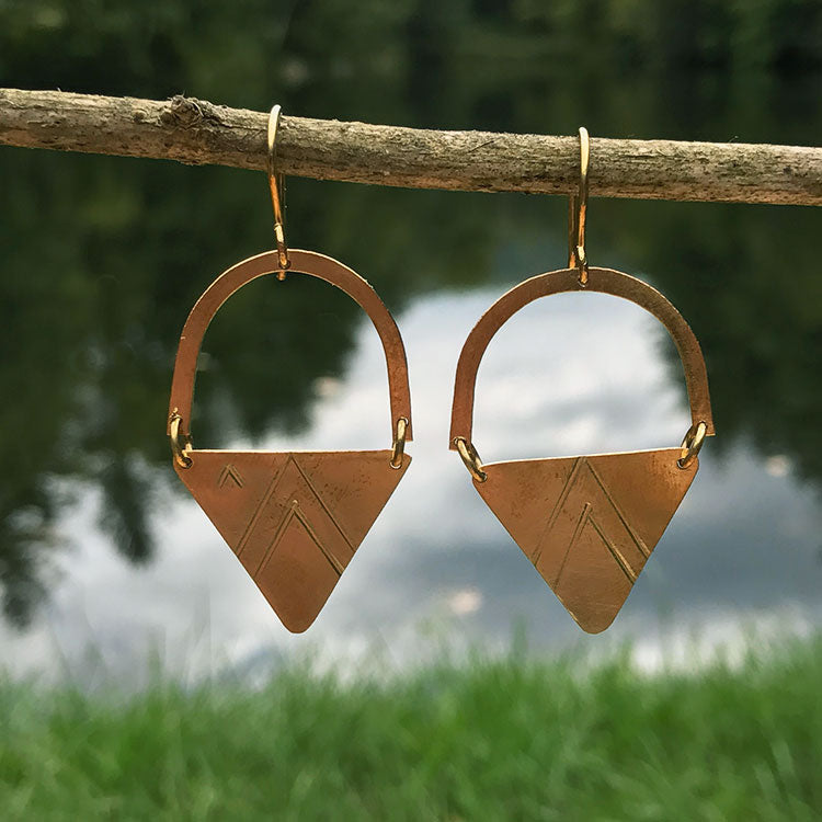 Fair trade brass earrings handmade in Kenya