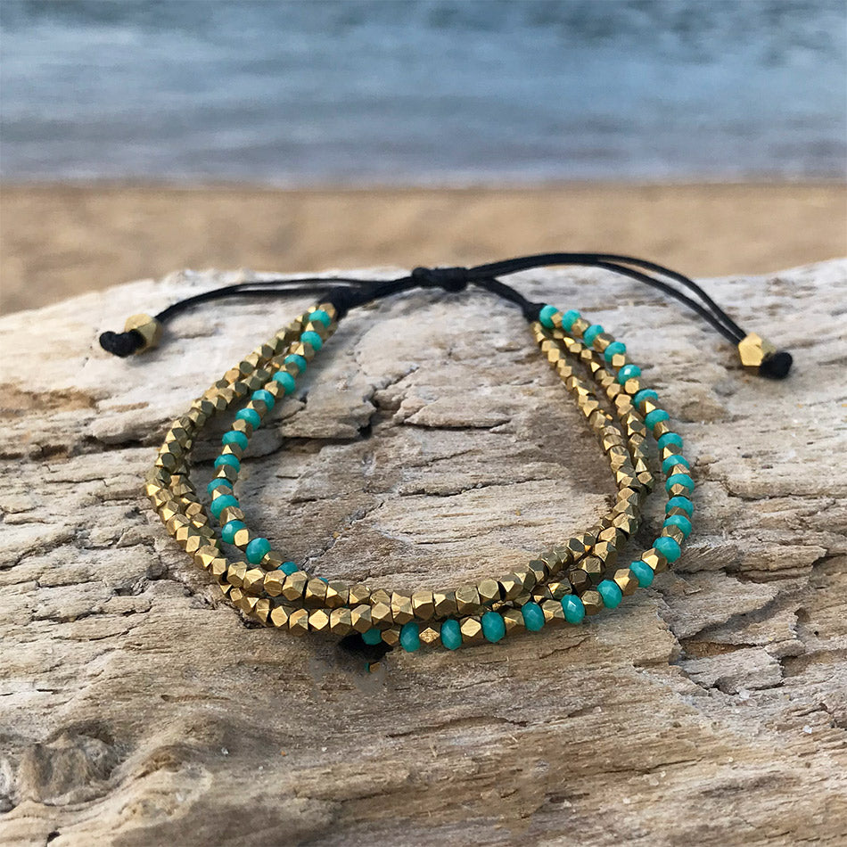 Fair trade brass and turquoise bracelet handmade in Thailand.