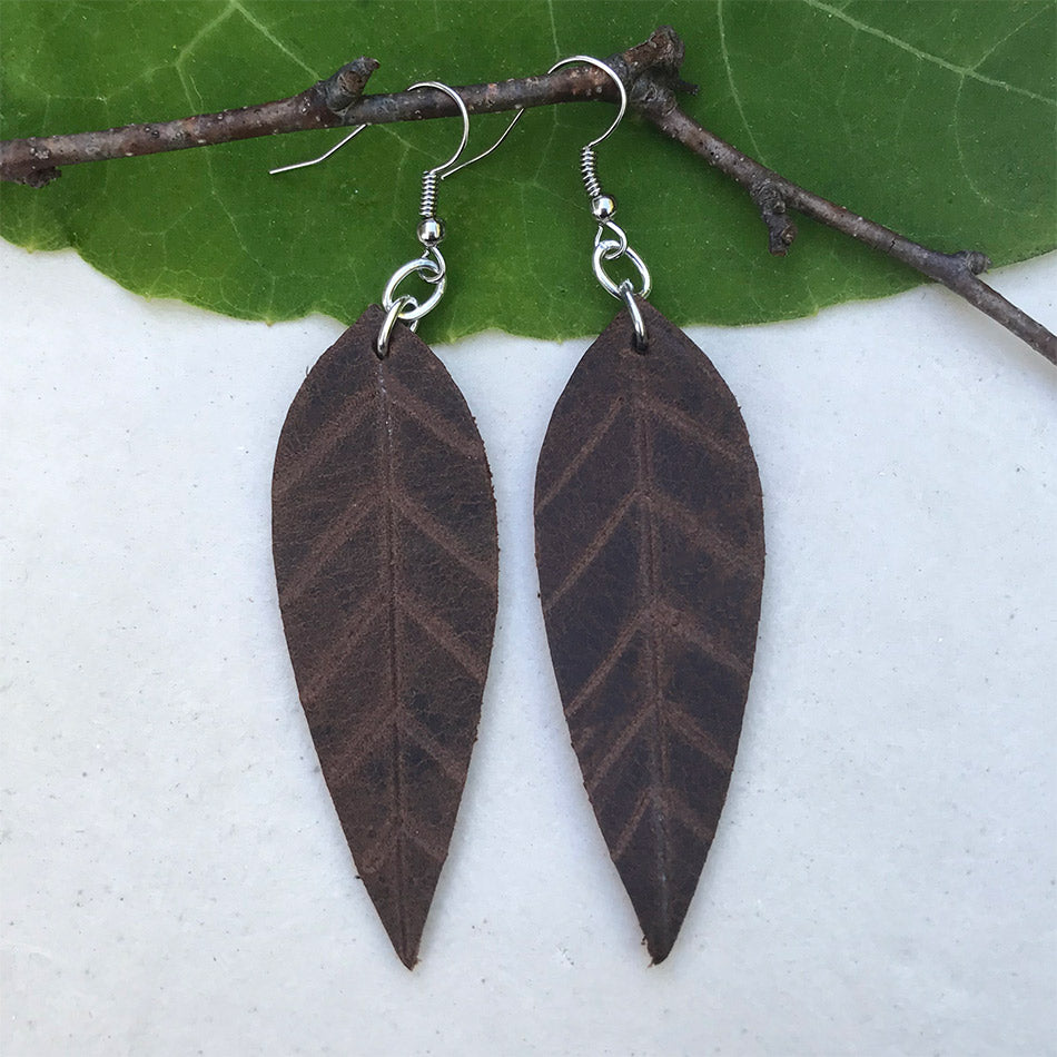 Fair trade leather leaf earrings handmade by women in Guatemala