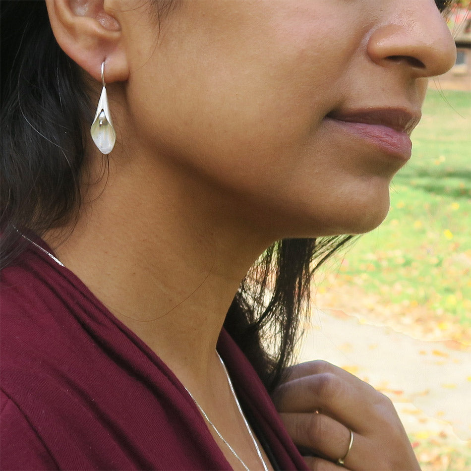 Fair trade sterling silver pearl earrings