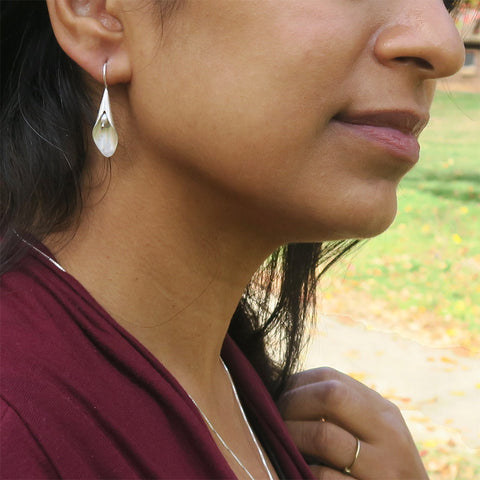 Fair trade sterling silver pearl lily earrings