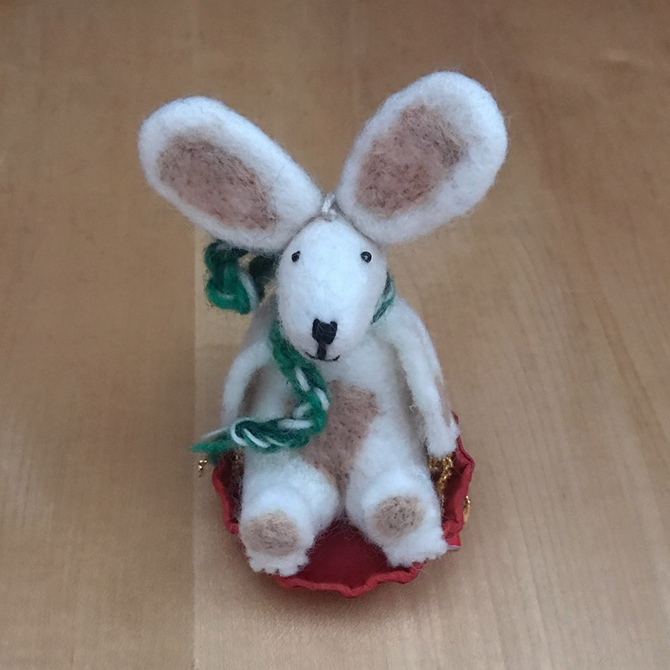 Sledding Bunny Ornament, Nepal