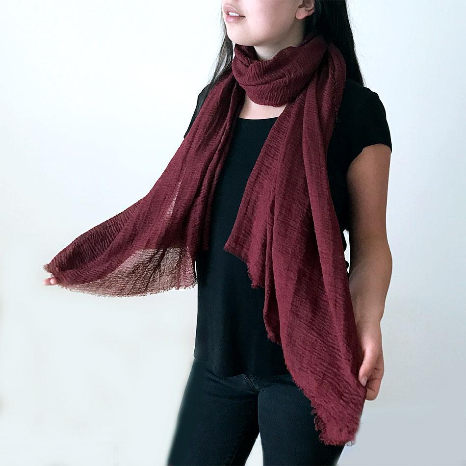Organic cotton fair trade scarf handmade in Thailand