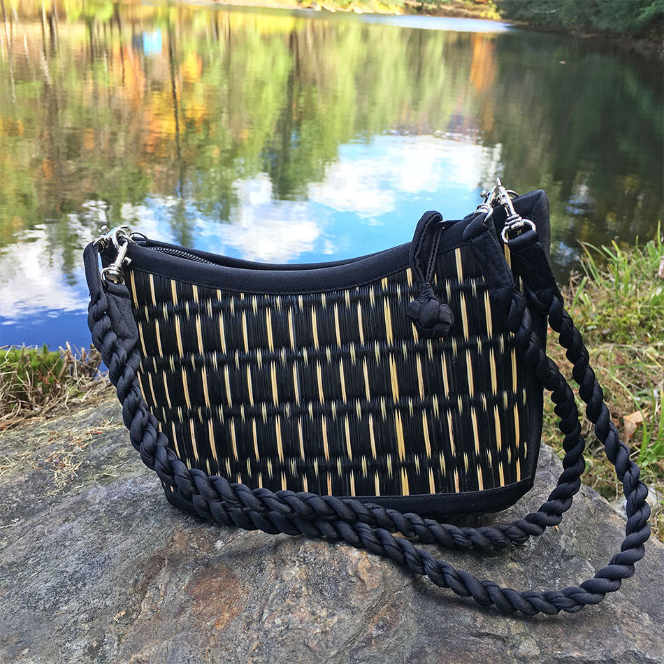 The Grass is Greener Purse - Small, Black Speckled, Cambodia
